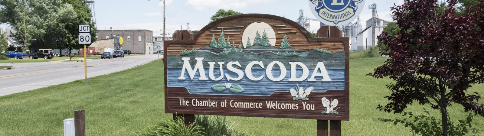 Village of Muscoda welcome sign